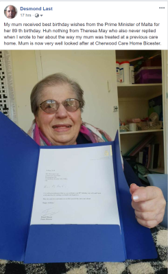 My Mum with the Prime Minister of Malta's Letter